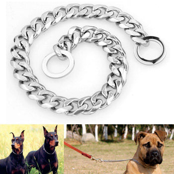 Silver Stainless Steel Dog Chain-Pet Collar Cut Curb Cuban Link-Dog Chain