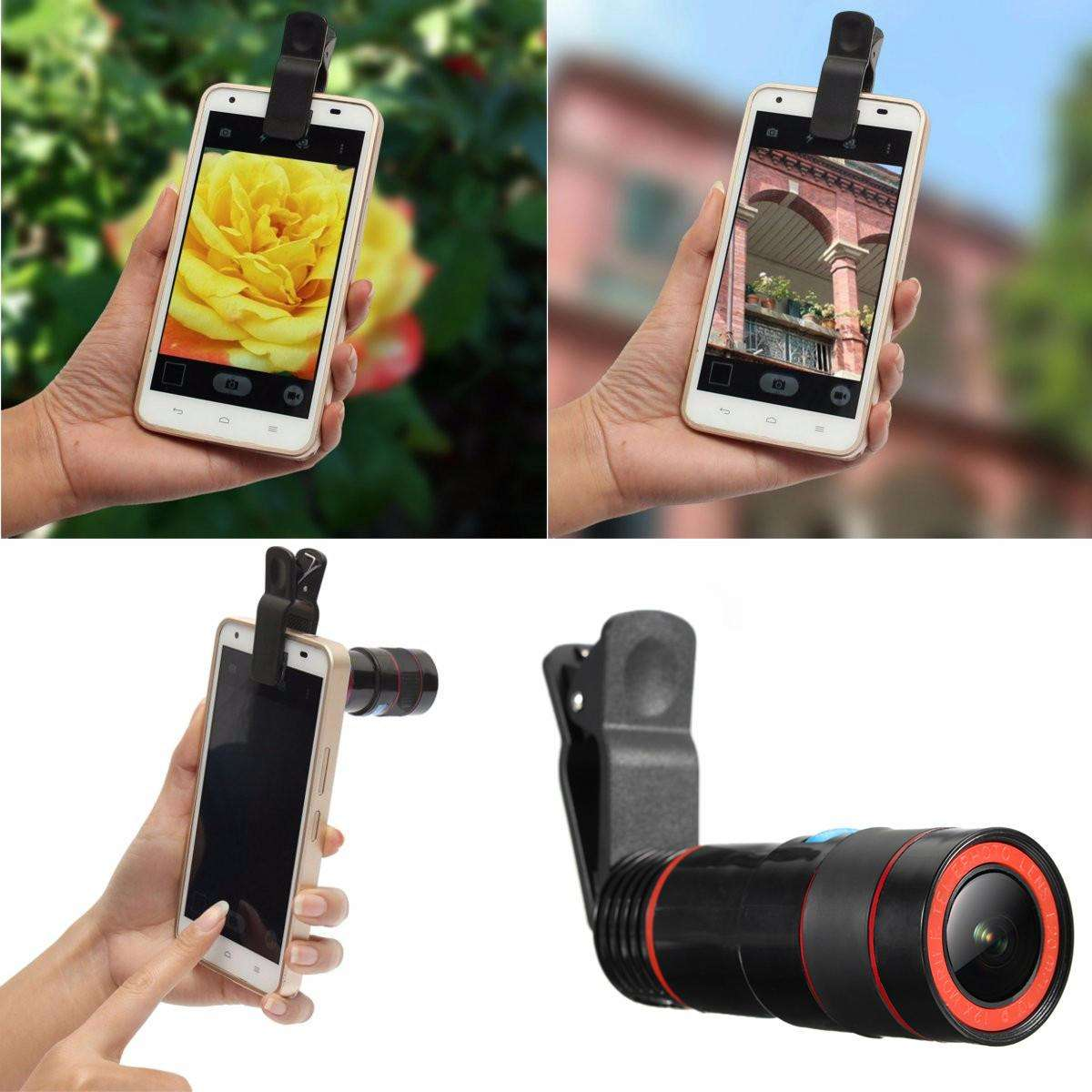 Universal 8X-12X Zoom Clip-on Camera Lens Telescope  for Smartphone & Tablets-Telescope