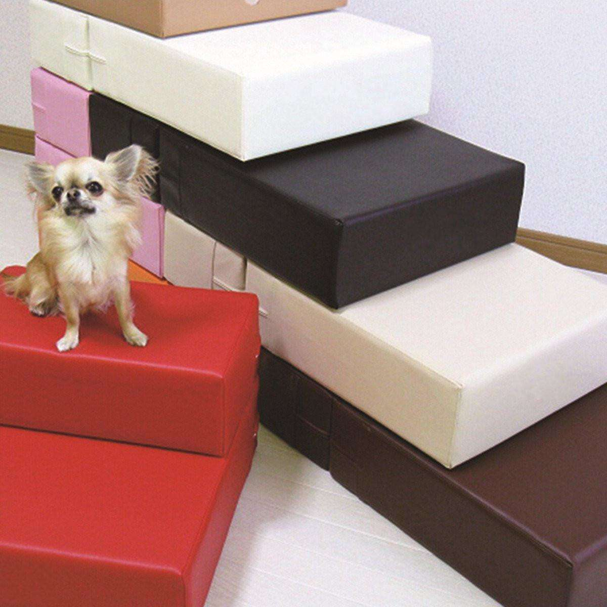 2 Steps Portable Leather Cover Foldable Dog And Cat Stairs, Ramp-Pet Ramp