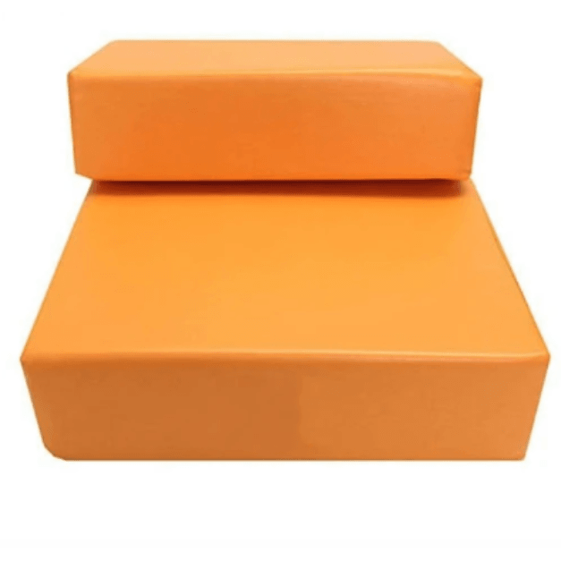 LARNELEC :2 Steps Portable Leather Cover Foldable Dog And Cat Stairs, Ramp,Orange,Pet Ramp