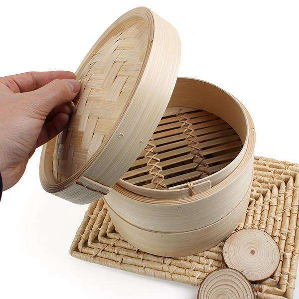 2 Tier Eco Natural Bamboo Steamer - Rice Pasta Kitchen Food Steaming Tools-Food Steamer