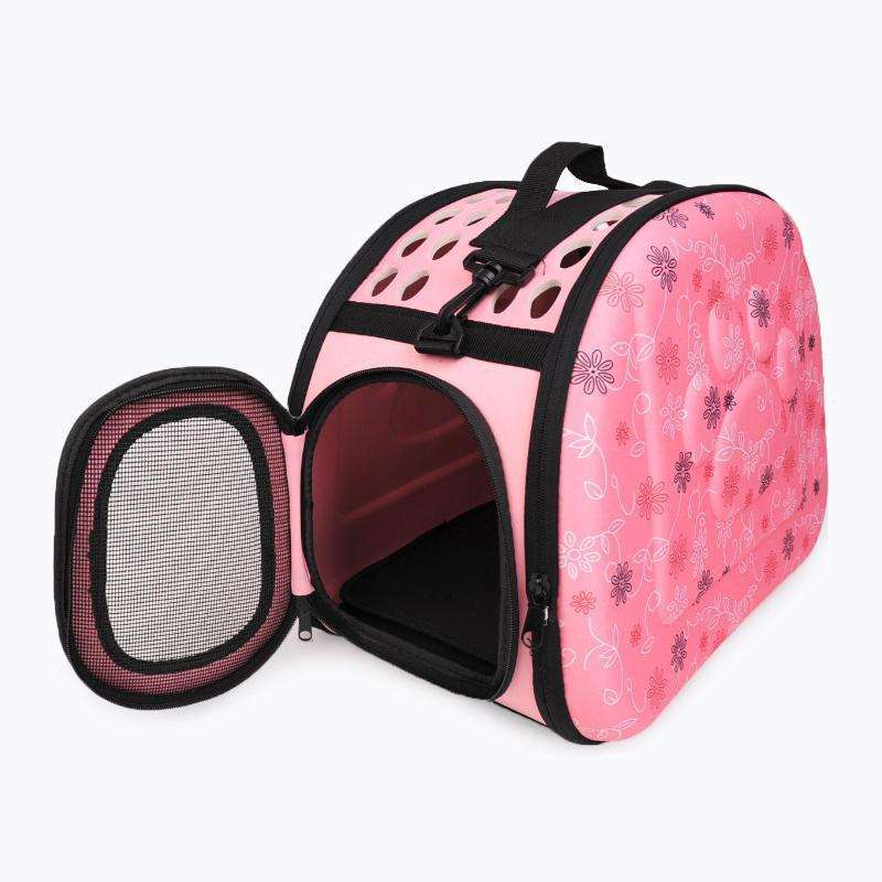 LARNELEC :Dog Cat Puppy Portable Foldable Travel Bag Carrier Bag Shoulder Bag,L / Pink,Pet Backpack
