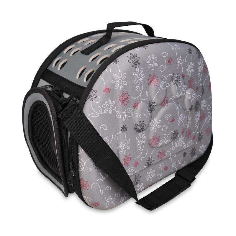 LARNELEC :Dog Cat Puppy Portable Foldable Travel Bag Carrier Bag Shoulder Bag,L / Grey,Pet Backpack