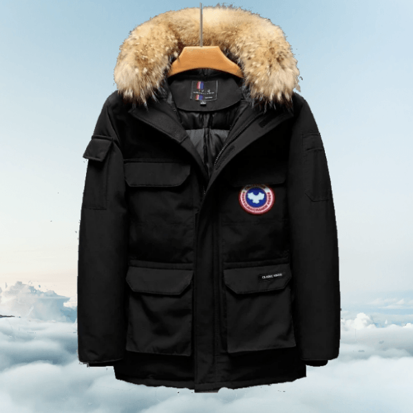 LARNELEC :Fashion Fur Hood Goose Down Parka Winter Jacket For Men,M / Black,Winter Collection