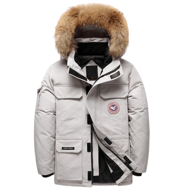 LARNELEC :Fashion Fur Hood Goose Down Parka Winter Jacket For Men,M / Cream,Winter Collection