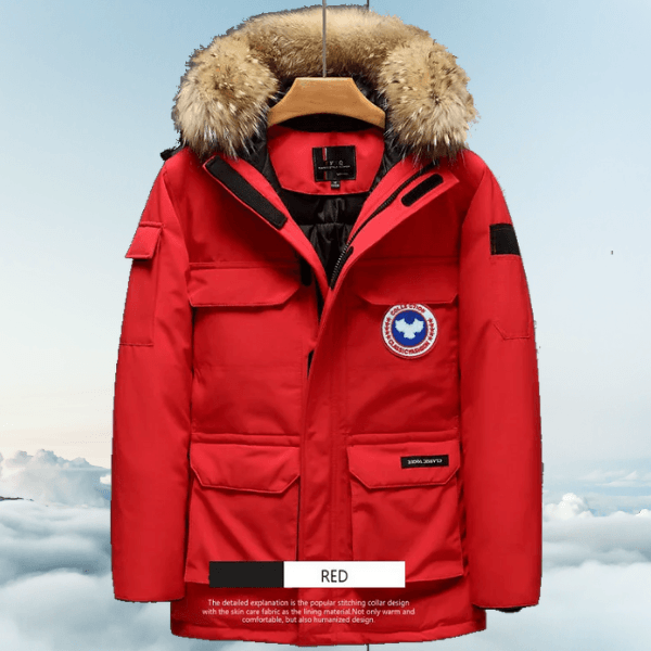 LARNELEC :Fashion Fur Hood Goose Down Parka Winter Jacket For Men,M / Red,Winter Collection