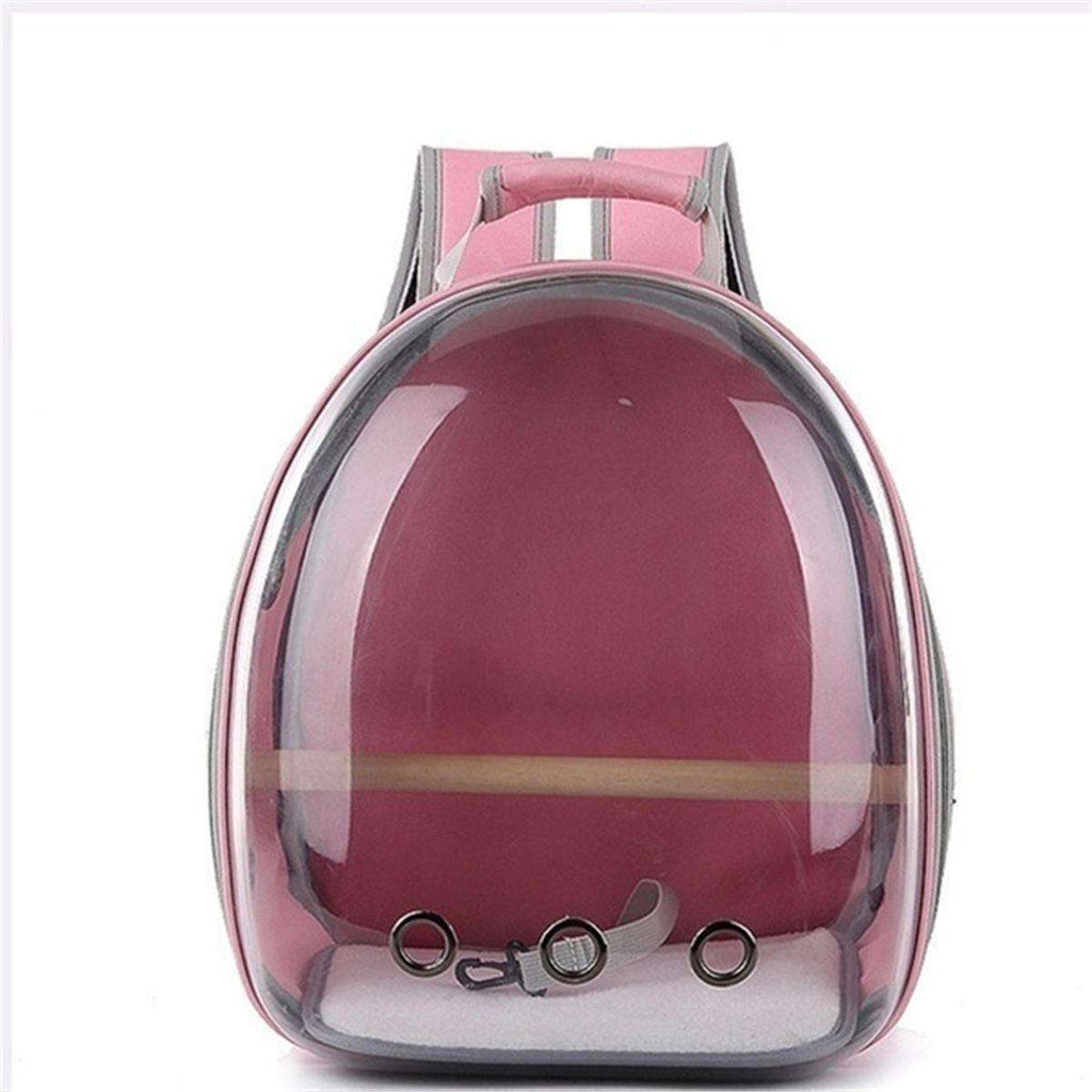 LARNELEC :Pet Cat Parrot Bird Transparent Breathable Travel Carrier Backpack,Pink,Pet Backpack