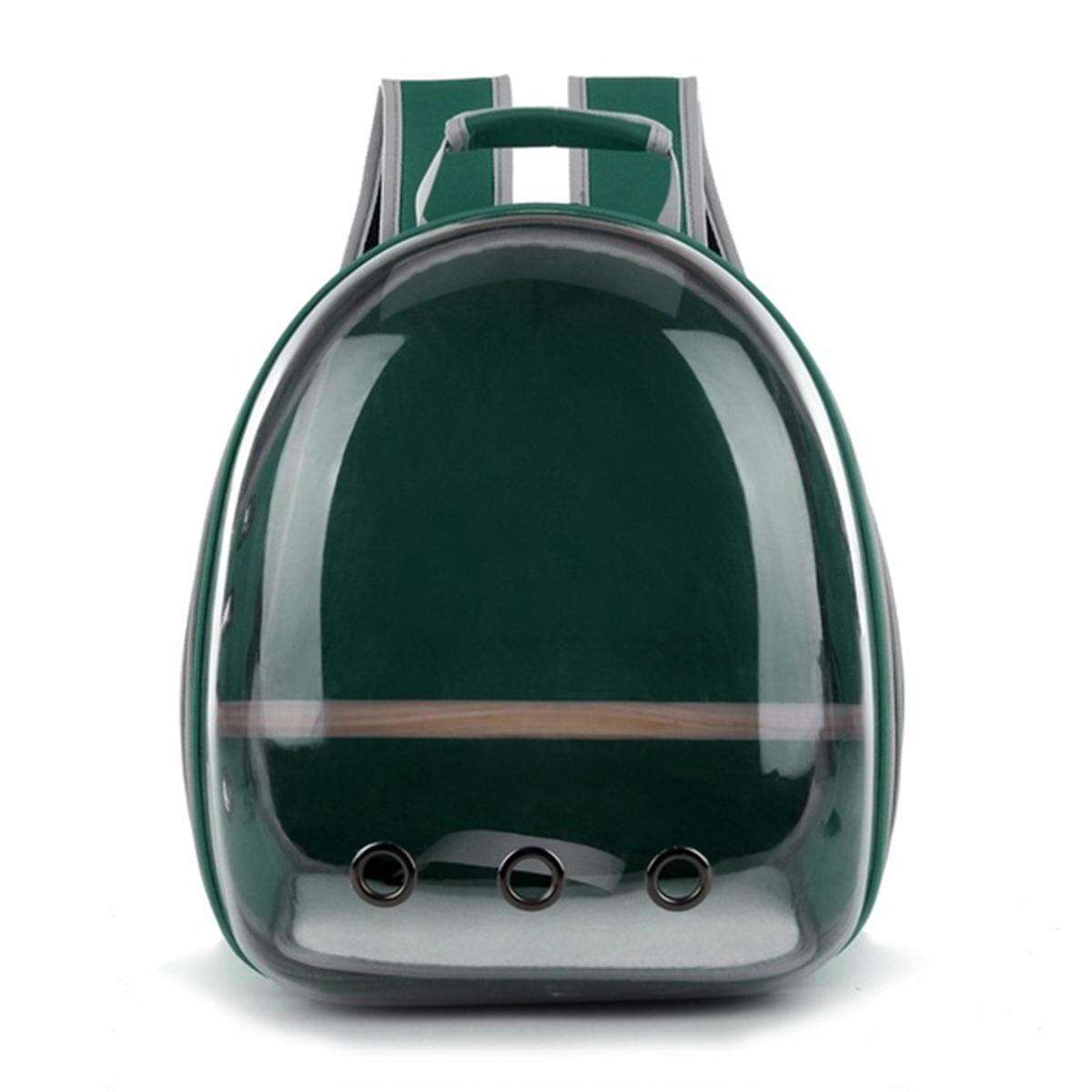 LARNELEC :Pet Cat Parrot Bird Transparent Breathable Travel Carrier Backpack,Green,Pet Backpack