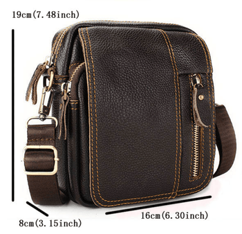Pure-Cuir™ Men Genuine Leather Leisure Business Small Shoulder Crossbody Bag-Bags & Shoes