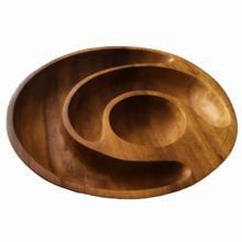 Load image into Gallery viewer, Handcarved Chip & Dip Serving Bowl.