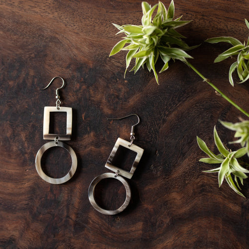 Kimaka Square + Circle Drop Earrings.