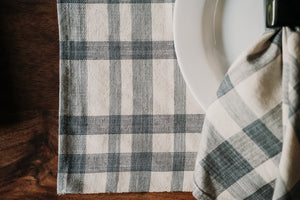 Blue & Cream Plaid Woven Placemats (set of 4)