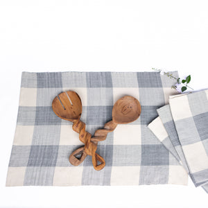 Blue & Cream Check Woven Placemats (set of 4)