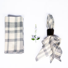 Load image into Gallery viewer, Blue & Cream Plaid Woven Napkins (set of 4)