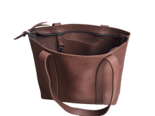 Load image into Gallery viewer, Medium Brown Full-grain Zippered Leather Tote Bag - Amaka Africa