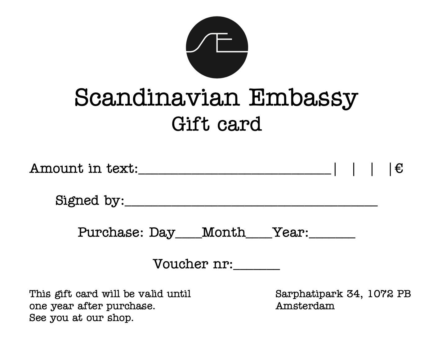 Scandinavian Embassy's Gift Card.