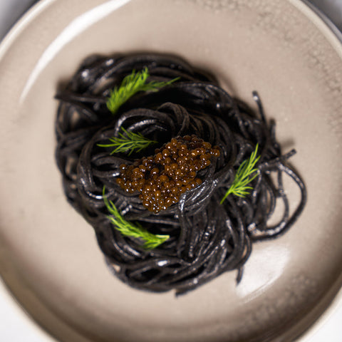 Squid Ink Pasta and Keluga Caviar