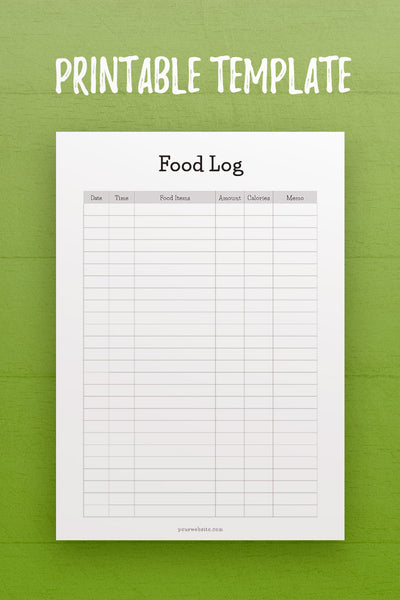 HF: Food Log InDesign Template