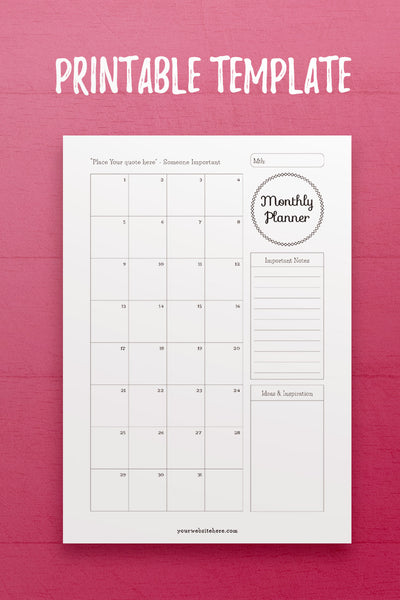 YY: Monthly Planner InDesign Template
