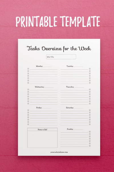 YY: Weekly Tasks Overview InDesign Template