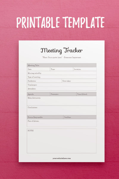 YY: Meeting Tracker InDesign Template