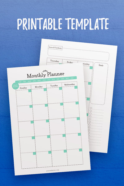 GP: Monthly Planner InDesign Template [Sunday]