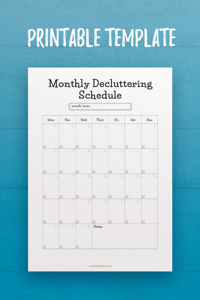 MOL: Monthly Decluttering Schedule InDesign Template
