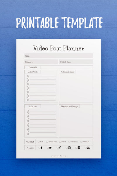 GP: Video Post Planner InDesign Template