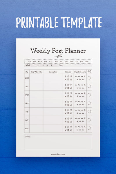 GP: Weekly Post Planner InDesign Template