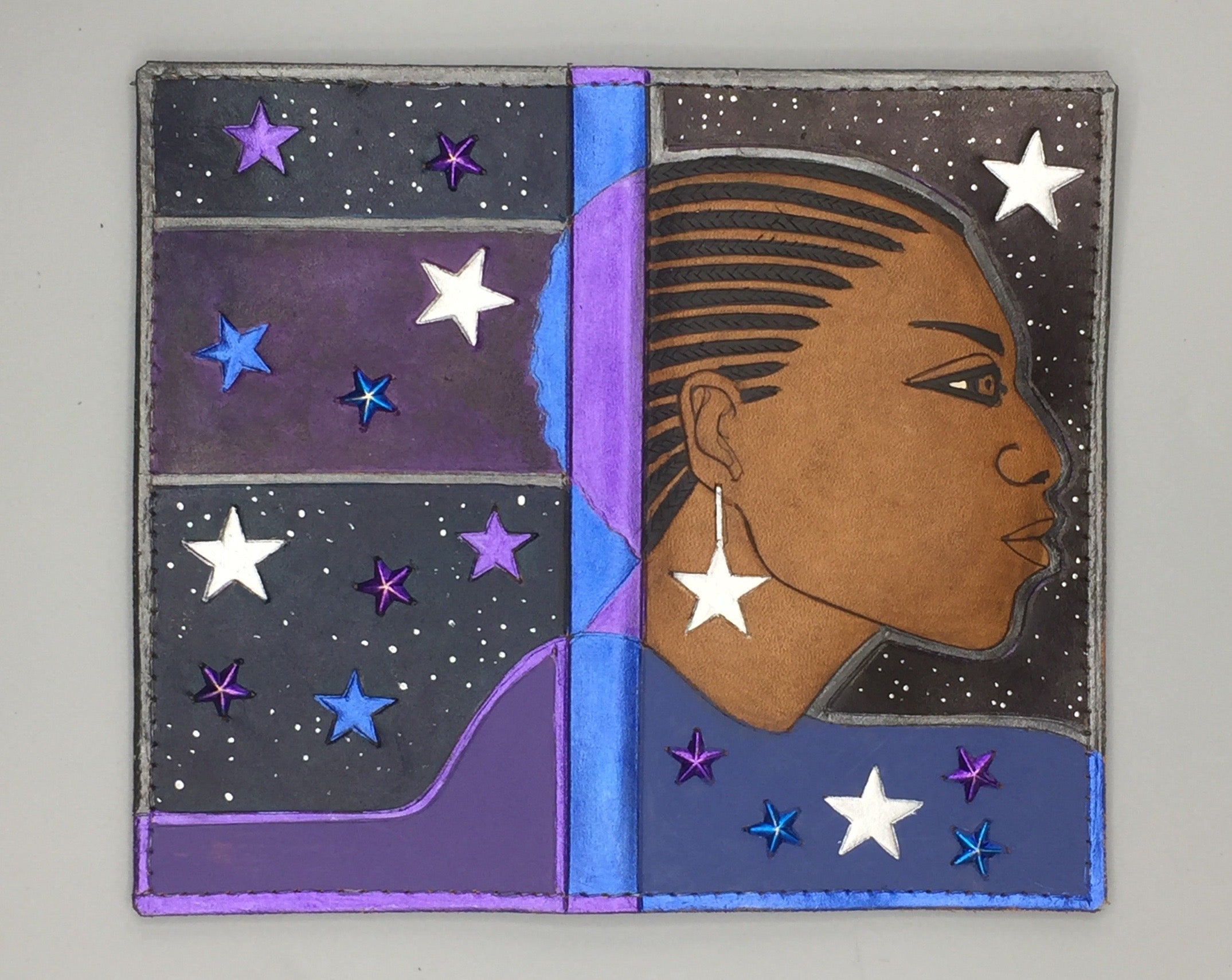 "MASTERPIECE CHECK WALLET - ""CORNROWS IN THE NIGHT"""