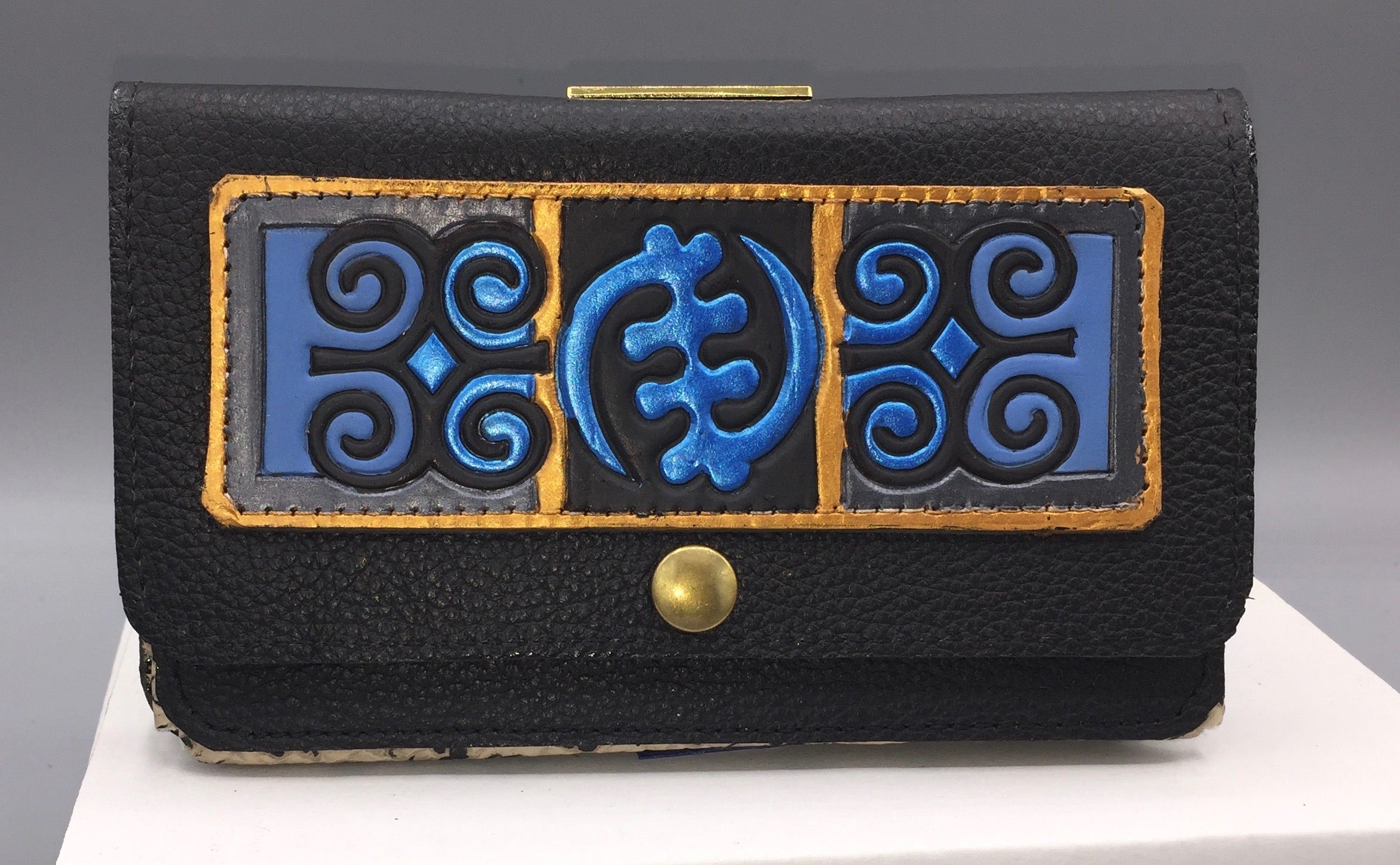 "CELL PHONE CASE (Belt Style) - ""BLACK & BLUES ADINKRA"""