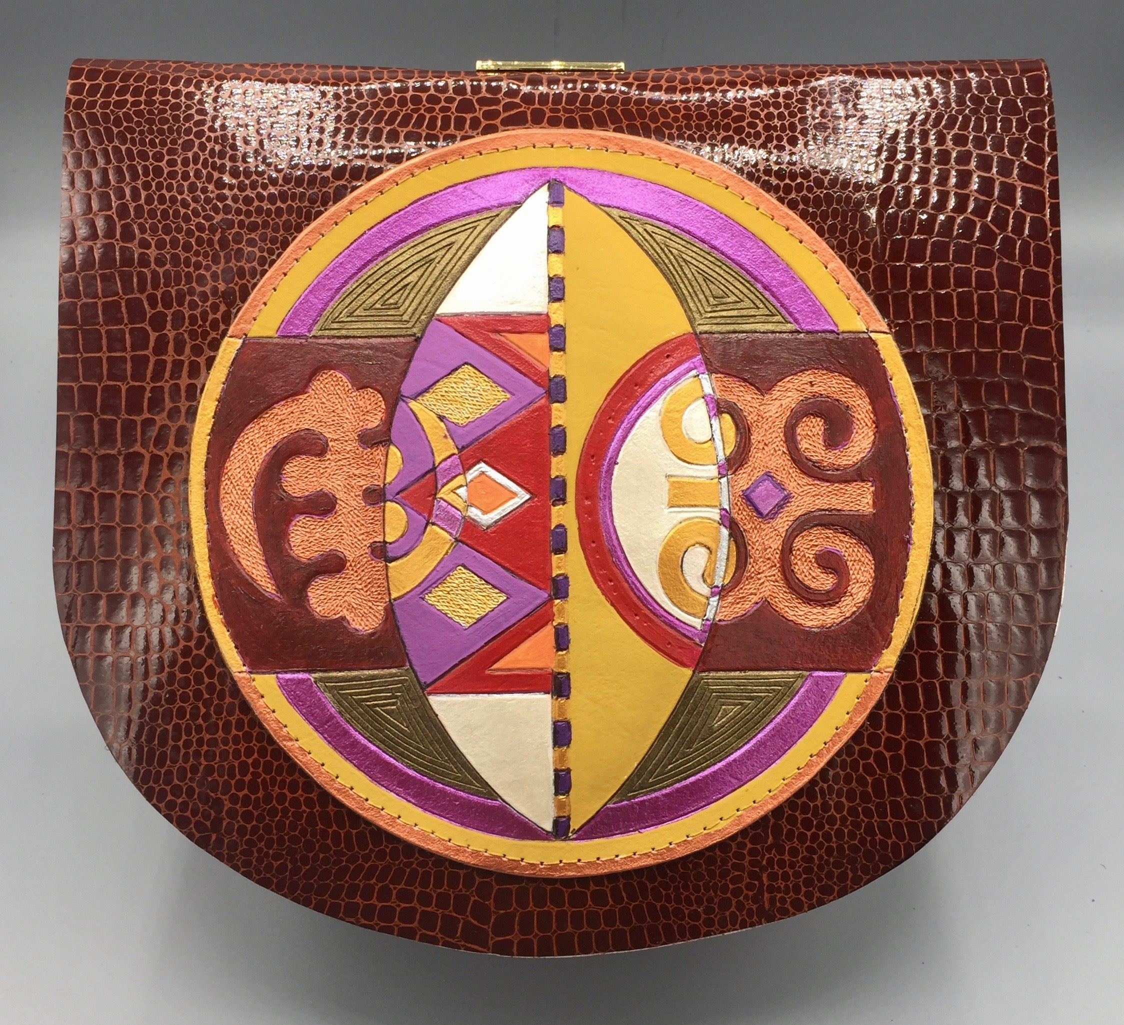 "CROSS BODY ROUNDER - ""ADINKRA  SHIELD"""