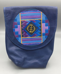 "SMALL CROSS-BODY BUCKET - ""BLUE KENTE"""