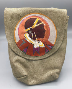 "SMALL CROSS-BODY BUCKET - ""MASAI WOMAN"""