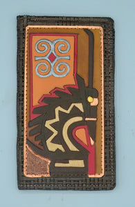 "CHECKBOOK COVER - ""ChiWara / Ram's Horns"""