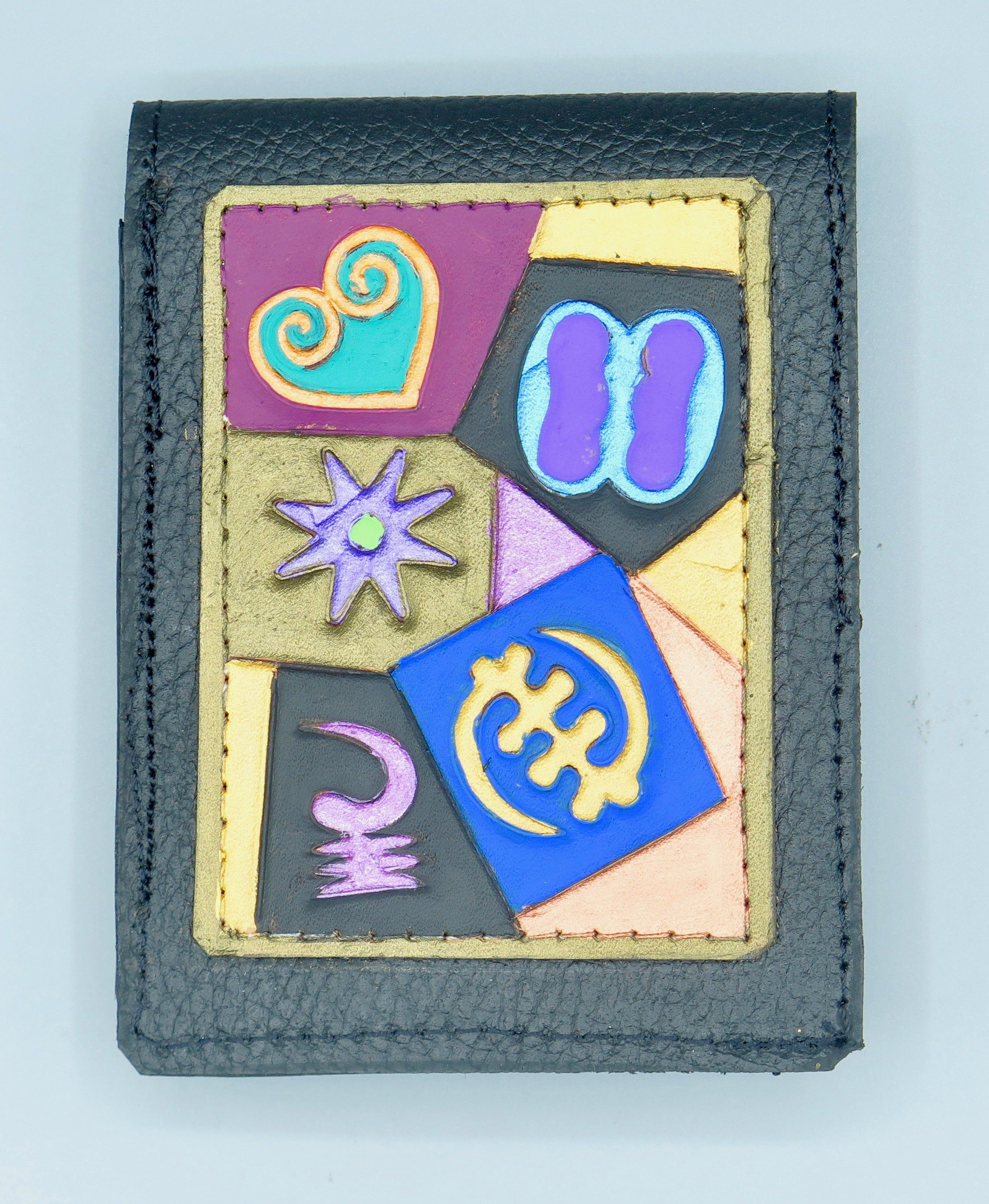 "SLIM WALLET - ""Adinkra Collage"""