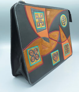 "NU CLASSIC DESIGNER CLUTCH - ""Abstract Adinkra Collage"""