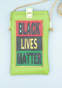 "CELL PHONE POUCH - ""BLACK LIVES MATTER - LIME GREEN"""