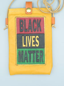 "CELL PHONE POUCH - ""BLACK LIVES MATTER - GOLDENROD YELLOW"""