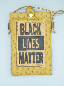 "CELL PHONE POUCH - ""BLACK LIVES MATTER - TAN EMBOSSED OSTRICH"""