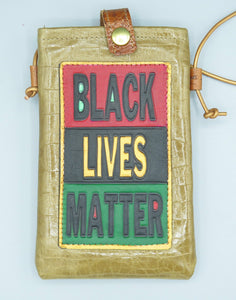 "CELL PHONE POUCH - ""BLACK LIVES MATTER - BEIGE TAN EMBOSSED PATENT LEATHER """