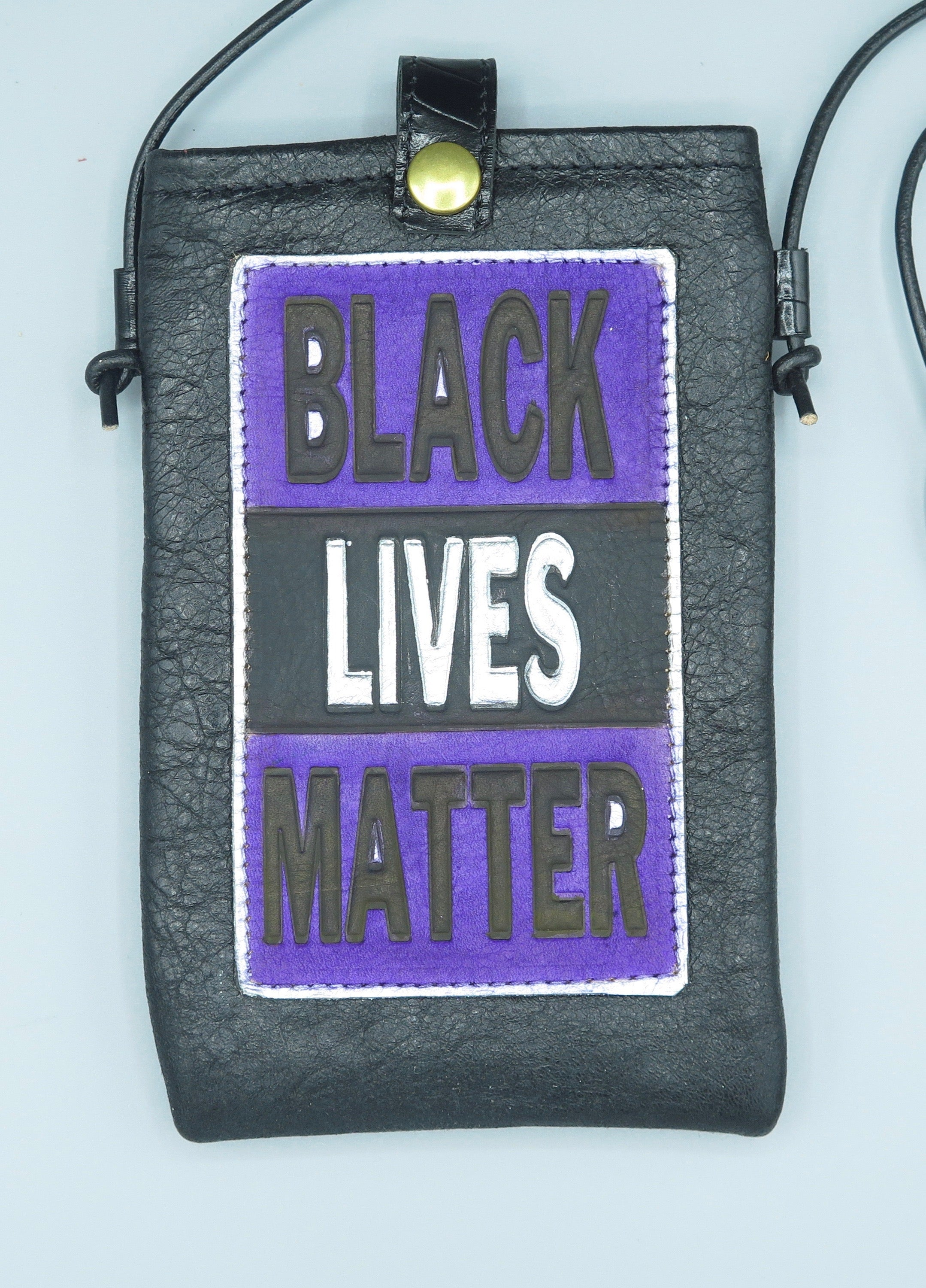"CELL PHONE POUCH - ""BLACK LIVES MATTER - BLACK-PURPLE-SILVER"""