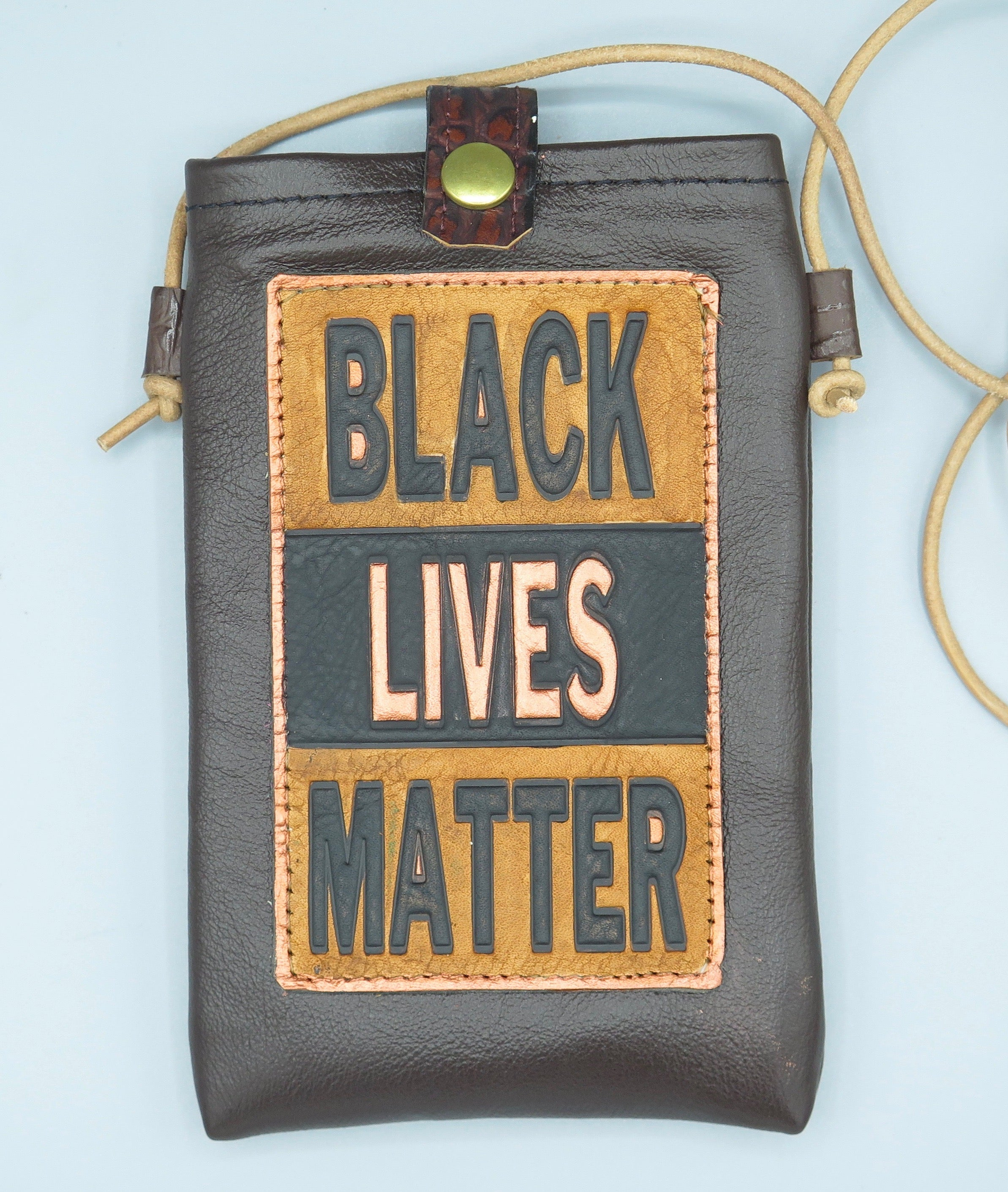 "CELL PHONE POUCH - ""BLACK LIVES MATTER - BLACK-TAN-COPPER"""