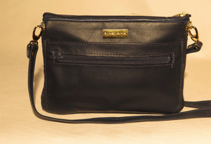 "ZIP COSMET EVENING BAG - ""BLACK BLUES"""