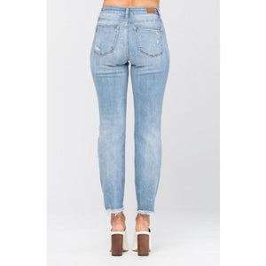 Judy Blue Destroyed Hem Boyfriend Jean - Style 82155 - Online Exclusive