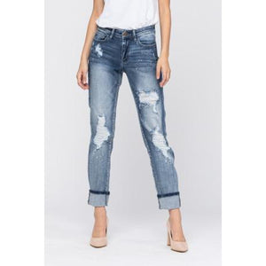 "**Re-Stock** Judy Blue Destroyed Bleach Detail Boyfriend Jeans - ""The Jeans"" - Style 82169"