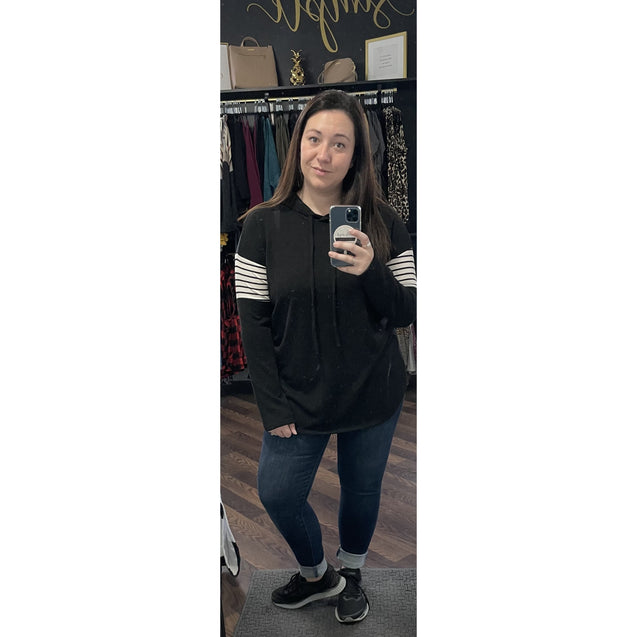 Black Hooded Tunic Top