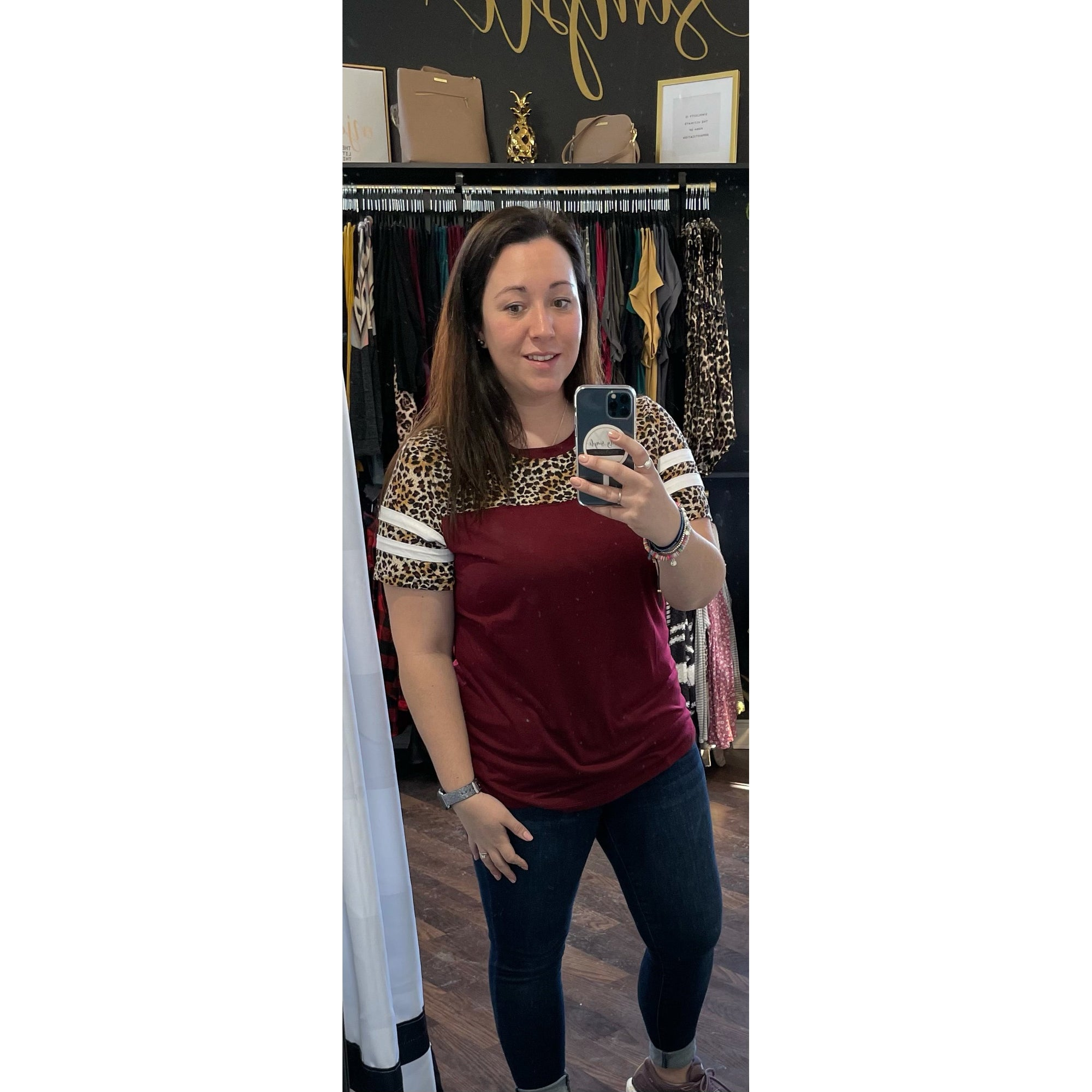 Burgundy & Leopard Short Sleeve Top - Online Exclusive