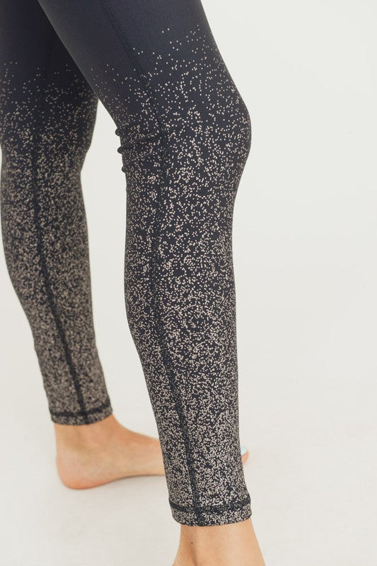 Black w/ Silver Foil Ombre Leggings - Online Exclusive