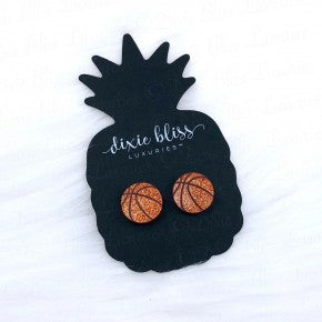 Basketball Glitter Stud Earrings